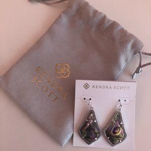 Kendra Scott Alex earrings in rhodium & abalone